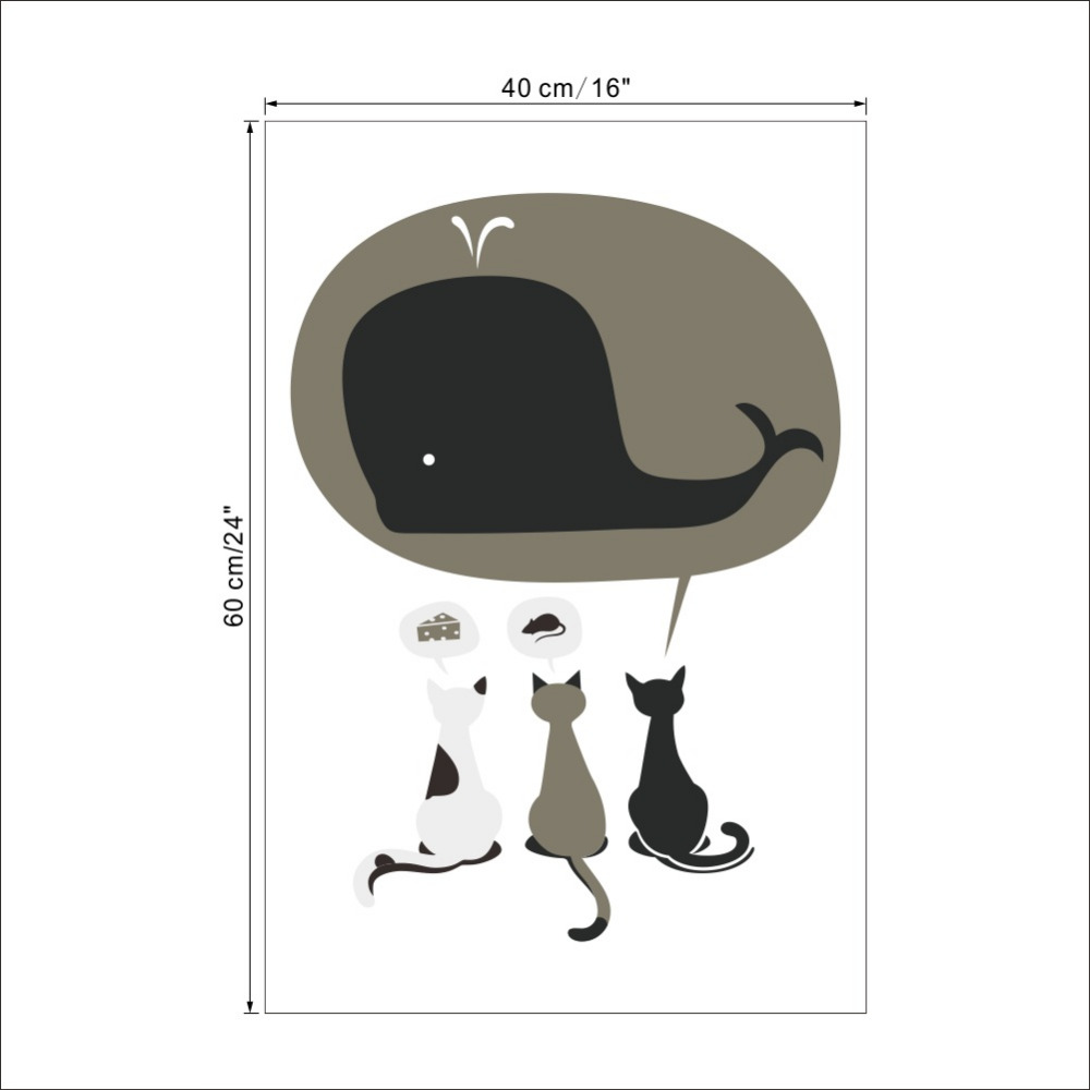 3 Cat Pet Lucu Mural Mimpi Dari Keju Tikus Paus Positif 1489 Wall Art Decor R Tidur Anak Stiker 2 0 Di Stickers Rumah Taman Aliexpress
