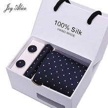 Man Tie 7.5cm width Neckties Handkerchief & Cufflinks Gift Box Packing Classic Mens Wedding Skinny Fashion for