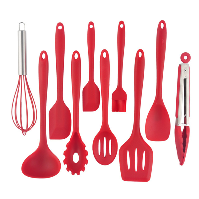 Hot 10pcs Heat Resistant Convenient Safe Silicone Kitchen Cookware Set Nonstick Cooking Tools
