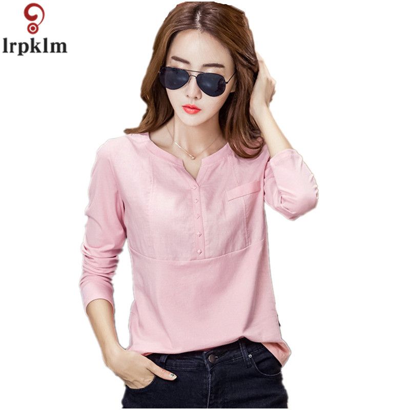 Autumn Long Sleeve Pink Plus Size M XXXL Casual Loose Cotton Linen Women Tops And