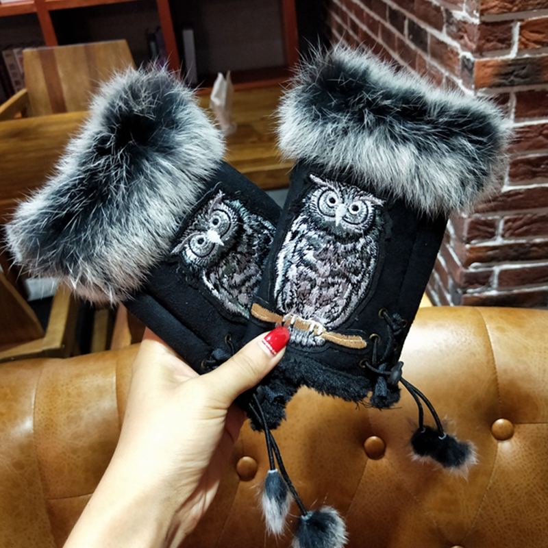 Fashion Winter Gloves For Women Embroidery  Owl Rabbit Fur Winter Gloves Suede Half Finger Mittens Female Students Typing