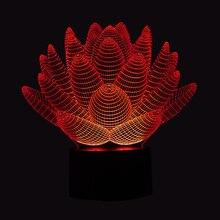 Lampa 3D Kwiat Lotosu Illusion 7-Kolorów LED USB