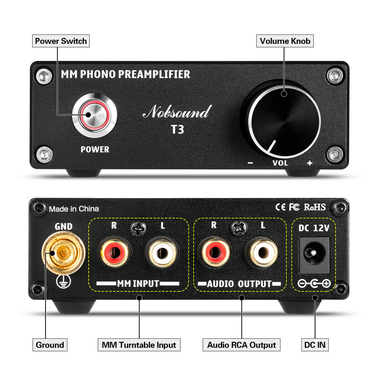 Nobsound Mini T3 MM préampli Phono lecteur de disque préamplificateur HiFi platine amplificateur - 3
