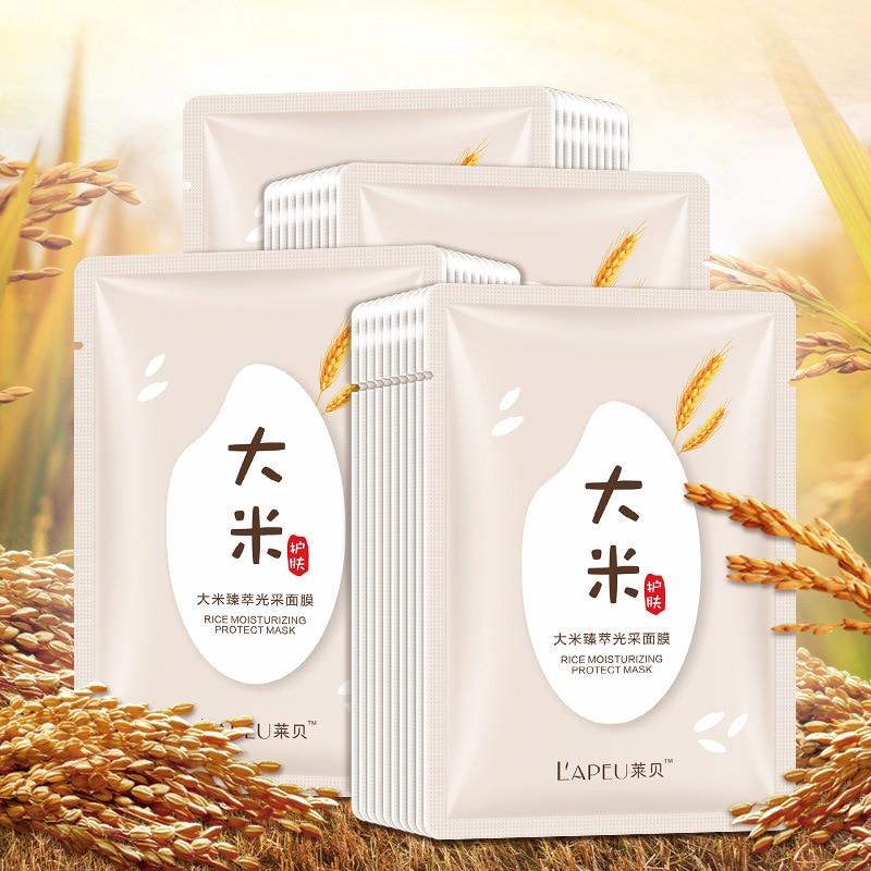 white Rice whitening facial face mask Moisturizing cosmetics skin care sheet mask korean women beauty and health peel off mask