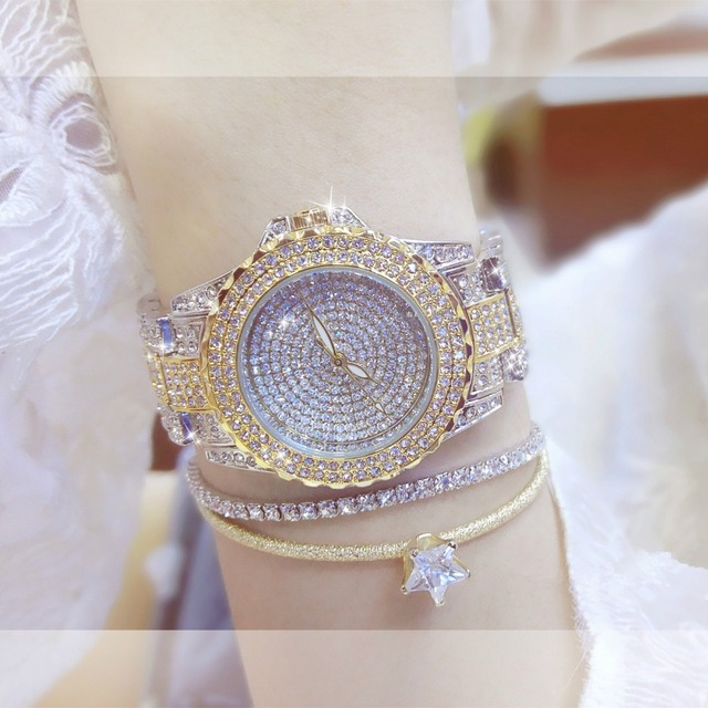 BS Gold Women's Watches Fashion Lady Dress Quartz Watch Women Rhinestone Casual