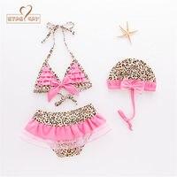 2017 Baby Girls Swimming Suit Summer Pink Leopard Swimwear Hat 2pcs Set Infant Toddler Kids Spa