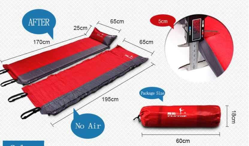 Estera de Camping al aire libre colchón de aire automático de playa colchón inflable autoinflante esterilla de turismo almohadilla de dormir 195*65*5 cm