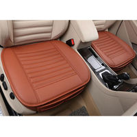 Brown Car Full Surround Seat Cover Leather Bamboo Charcoal Breathable Seat Cushion Pad Fit For Universal Accessories Car Styling