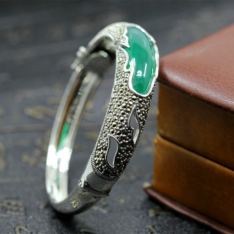2018 Real Bangle Items S925 Pure Ornaments Court Wind Restoring Ancient Ways Chrysoprase Openings Bracelet Light And Decoration 2018 limited hot sale no bangle ms character items s925 pure ornaments ethnic atmosphere wind lotus pomegranate bracelet wang