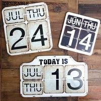 DESIRABLE American retro calendar hang decoration wrought iron desk calendar bar Cafe home furnishings Arts and Crafts