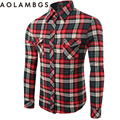 Mens Casual Plaid Shirts Long Sleeve Slim Fit Comfort Soft Cotton Shirt Leisure Styles Man Clothing Camisa Masculina Red Green