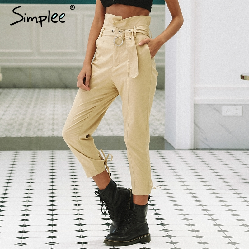 Simplee Khaki high waist belt pants women Zipper lace up casual fitting trousers 2018 Autumn ankle-length capris female