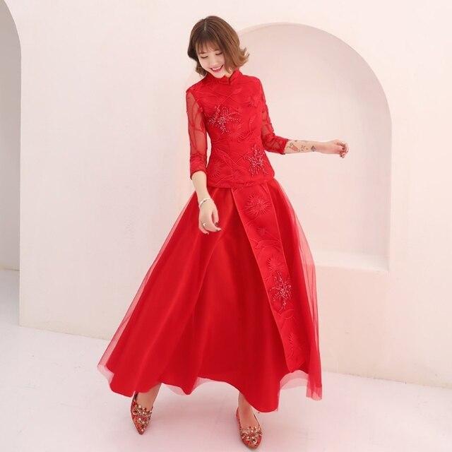 Cô Dâu Đỏ Phong Cách Trung Hoa Dự Tiệc Đầm Vestido Ren Tay Áo Dây Soiree Thêu Truyền Thống Trung Quốc Áo Cưới TS842
