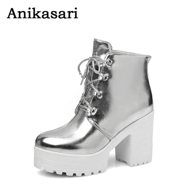 9ca13344be7 Plus Size 34~43 High Heel Boots Women Autumn Ankle Platform Boots Woman  Martin Boot Gold Silver Sexy Ladies Shoes Botas Mujer