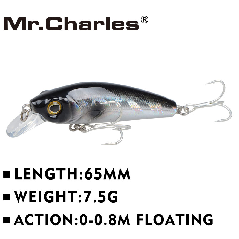 Mr.Charles CMC022 Fishing lure 65mm/7.5g 0-0.8m floating super sinking minnow Leurre Dur Peche Souple Big Sea Hard Bionic Bait