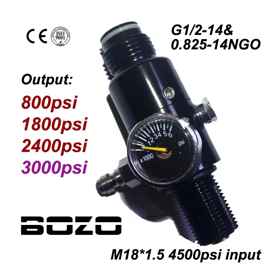 Paintball Co2 Cylinder Shooting 4500PSI Air Tank Regulator Output Pressure 800/1800/2400/3000psi M18*1.5