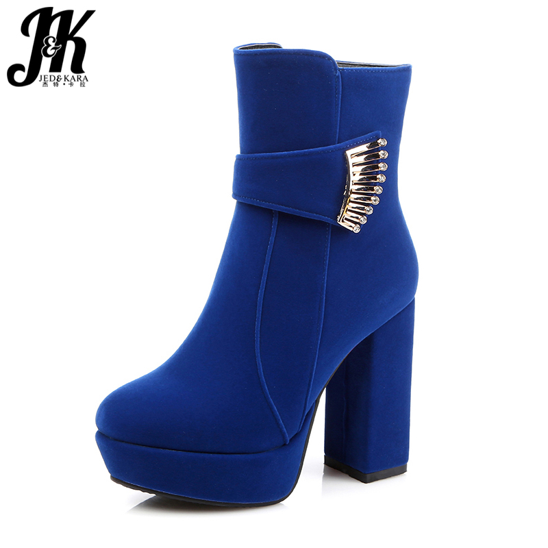Big Size 32-48 Fashion Sexy High Heels Women Boots Zip Platform Metal Charm Boots Add Fur Thick Heels Fall Winter Women Shoes wetkiss big size 34 43 fashion lace up platform knee boots add fur retro thick high heels skid proof fall winter shoes woman