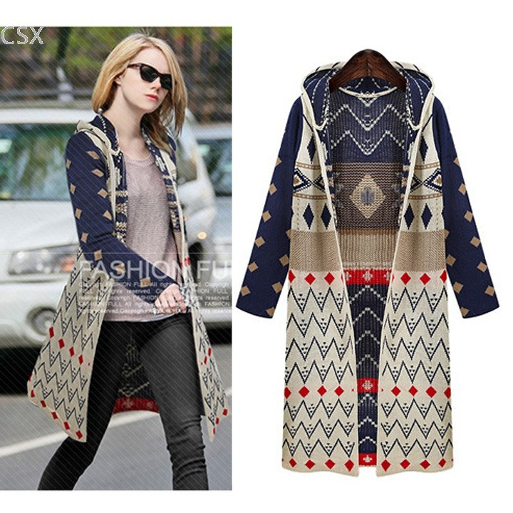 1c84217c640a0 MwOiiOwM New Autumn Winter Ladies Knitted Cardigans Girl Printed Hooded  Elegant Jumper Sweater Long Knitwear Coat 63