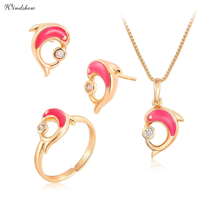 0f1c19bd US $4.5 50% OFF|Aliexpress.com : Buy Jewelry Sets Yellow Gold Color Pink  Dolphin Kiss CZ Pendant Necklace Earrings Ring Jewelry For Children Girls  ...