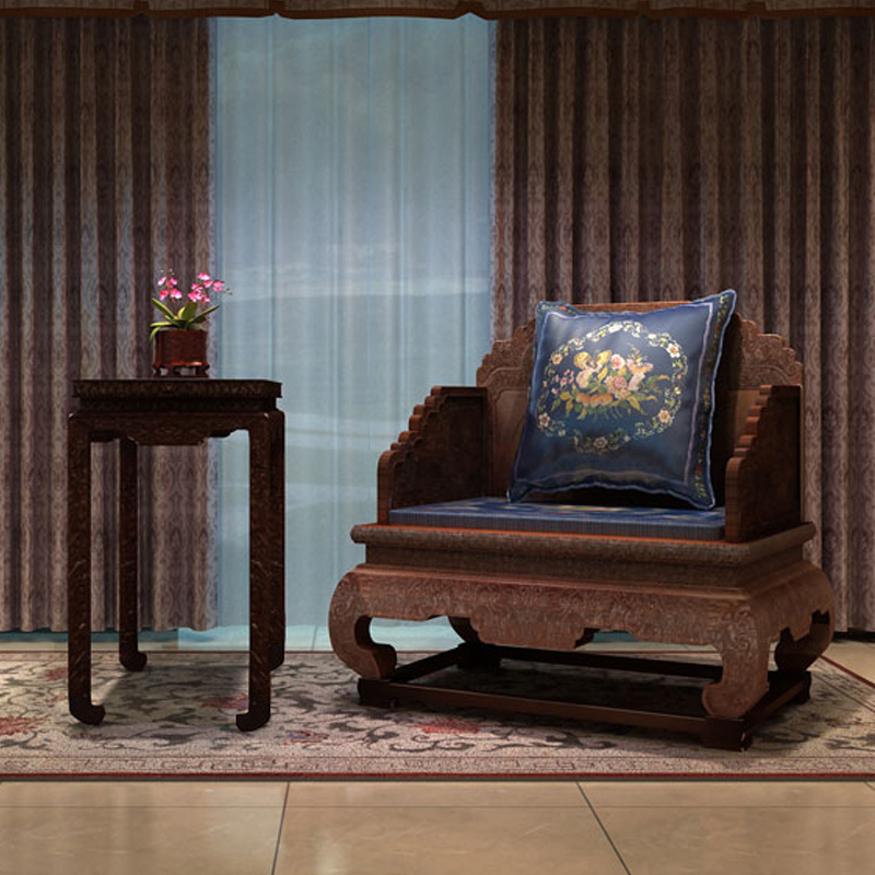 Chinese Living Room Furniture: The Imperial Throne Burma Rosewood Living Room Sofa