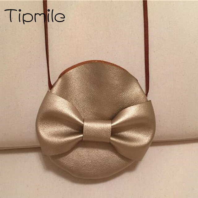 Children Gold Bow Small Bag Circle Kids Coin