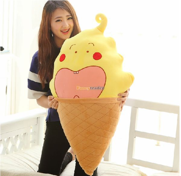 ФОТО Fancytrader Lovely Cute Stuffed Warmte Creme Ice Cream Shop Toy Plush 95cm 37inch White Pink Yellow for Kids