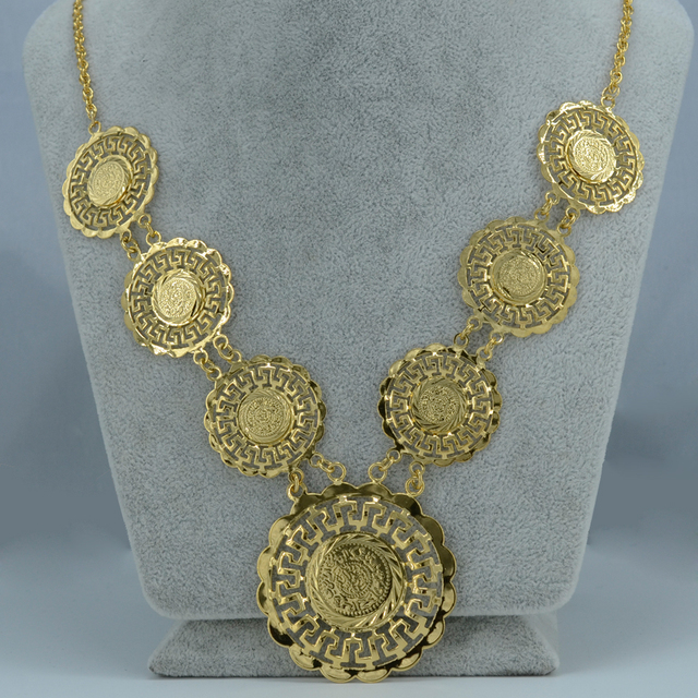 55CM / Gold coin necklace long for women - gold plated arab coins jewelry money chain necklaces African/Middle Eastern/Islam