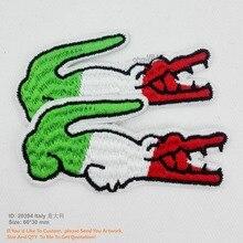 Крокодил флаг Италии ручной работы железа на патчи для аппликация на одежду 3D вышивка Bordados экологически чистые Патч