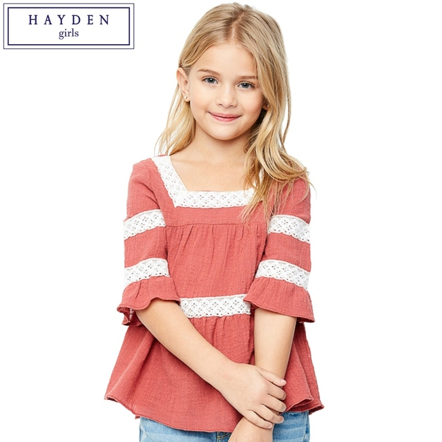 221c66b9231b HAYDEN Girls Blouse Cotton with Lace 2017 Spring Summer Girls Blouse  Designs Baby-Doll Top Teenage Clothing Brands Peasant Shirt