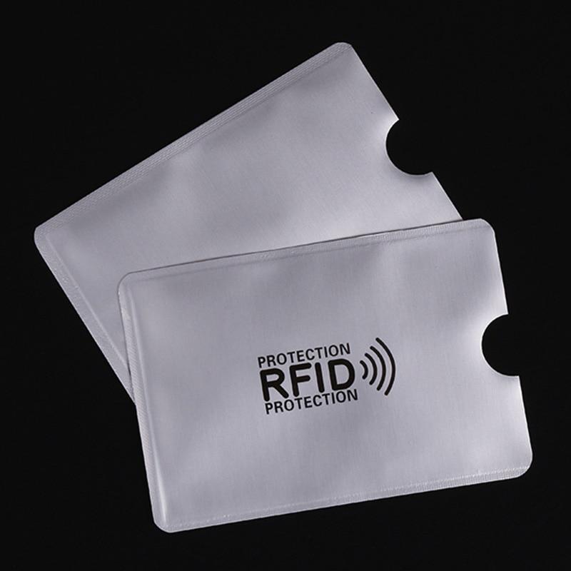 50 Pcs/Bag Anti Rfid Wallet Blocking Reader Lock Bank Card Holder Id Bank Card Case Protection Metal Credit Card Holder 6*9.3cm