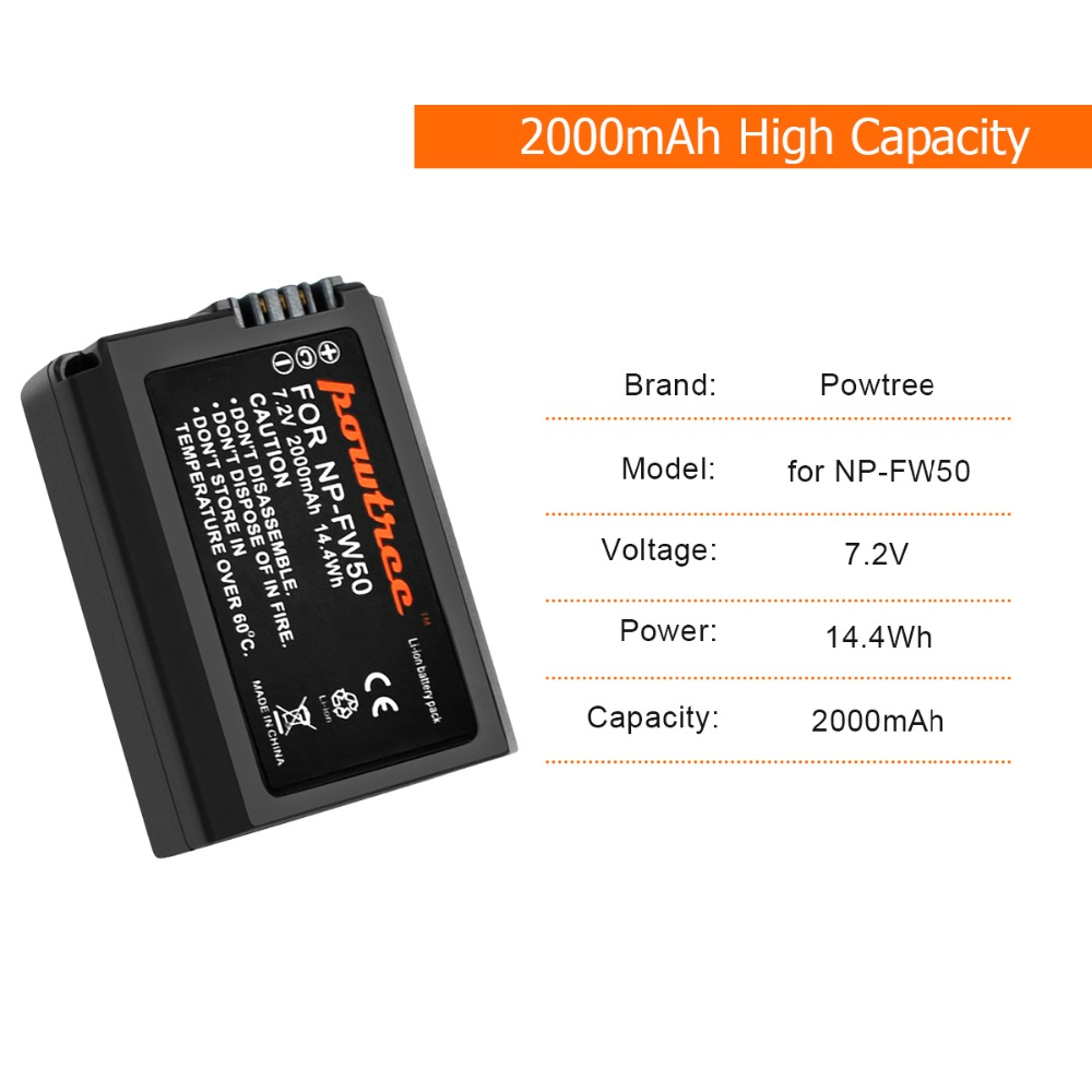 Powtree For Sony 7 2V 2000mAh NP FW50 NP FW50 NPFW50 Camera battery Replacement NEX 5T 5R 5TL Alpha a7R 7S a7S a3000 a5000 a6000 in Digital Batteries from Consumer Electronics
