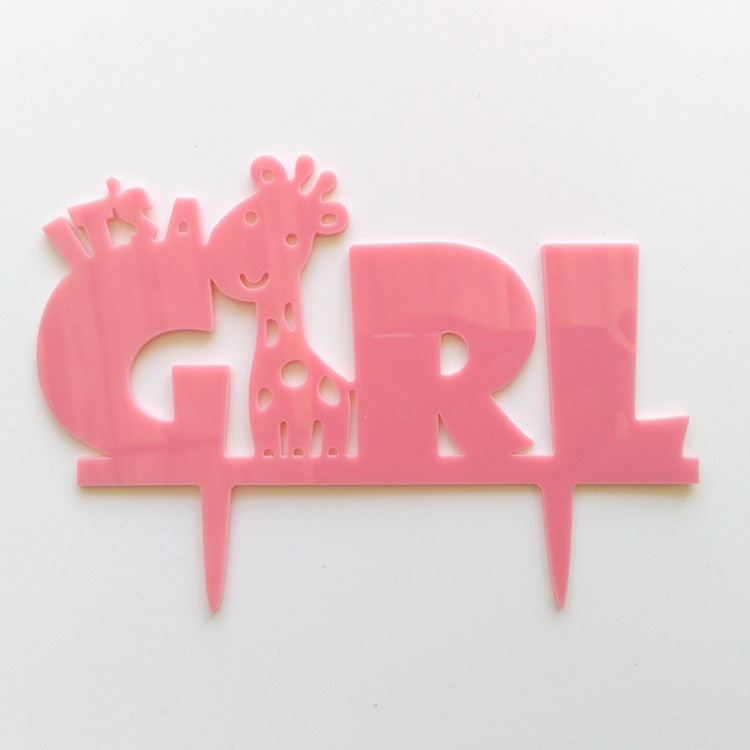 Cute Giraffe It's A Girl Happy Birthday Akrilik Cake Flag Toppers For Birthday Cake Party Birthday Cake Decor Hot Sale