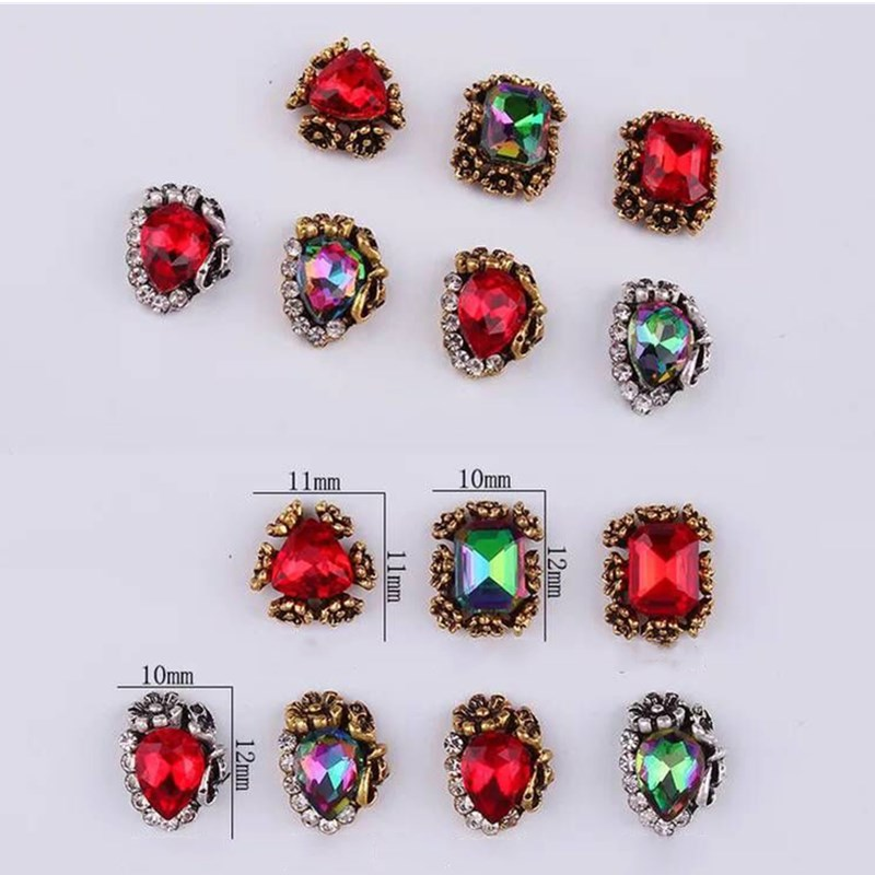 50pcs lot Alloy Nail Art Designs Polish Rhinestone Charm Color Random Crystal Art Nails Supplies Charm Rhinestone Decoration 10g in Rhinestones Decorations from Beauty Health