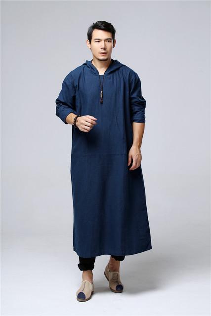 Hombres Gabardina larga de Algodón Con Capucha Escudo Plus Size Trench Largo trajes de hombre negro azul casual hombres sueltos de manga larga larga dress