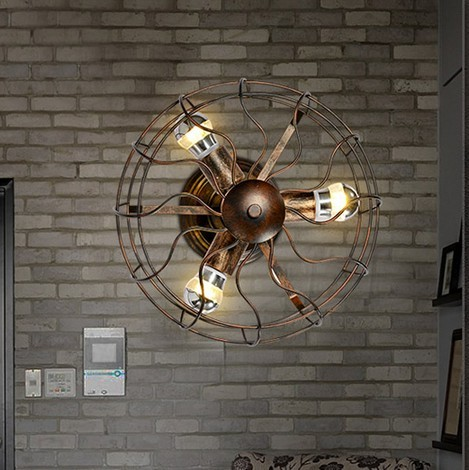 Creative Industrial Electric Fan Wall Sconce Loft Vintage Wall Light For Home Antique Wall Lamps ...