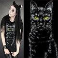 Панк-рок одежды для женщин летний стиль черная кошка топы с коротким рукавом европа футболка 3D цифровая печать хип-хоп фитнес те рубашка
