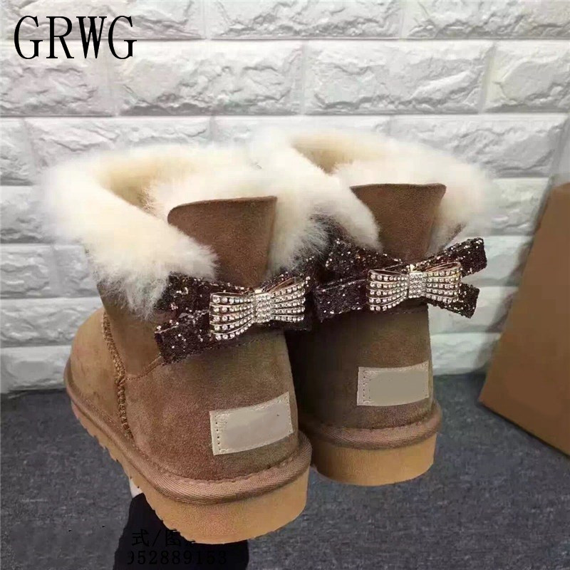 GRWG 2018 Natural Wool Shoes Women Woman Winter Classic Snow Boots Genuine Sheepskin Women's Boots Top Quality Shoes цена