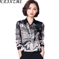 N.XINZHE Spring Man made Silk Casual Blouse summer women long sleeve Turn down Collar Print Office Blouse shirt women tops