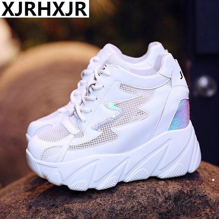 Breathable Platform Sneakers Woman 10CM Wedge High Heel Casual Shoes Summer Height Mesh Increasing Shoes Women Tenis Feminino