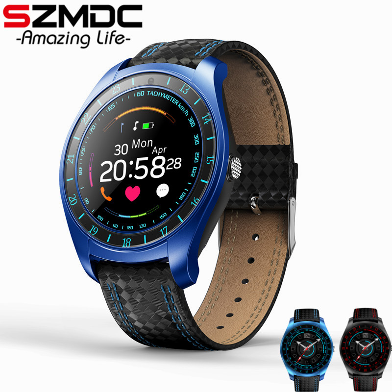 SZMDC <font><b>V10</b></font> Smart Watch Men with Camera Bluetooth <font><b>Smartwatch</b></font> Pedometer Heart Rate Monitor Sim Card Wristwatch for Android Phone image