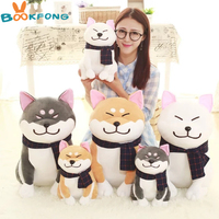 BOOKFONG 1PC 45CM Wear scarf Shiba Inu dog plush toy soft stuffed dog toy great gifts for girlfriend children
