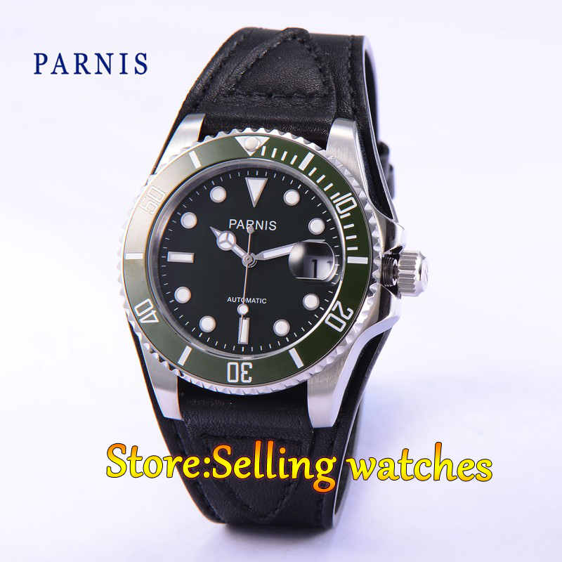 Parnis 40mm black dial sapphire Glass green ceramic bezel 21 jewels MIYOTA Automatic movement Mens watchParnis 40mm black dial sapphire Glass green ceramic bezel 21 jewels MIYOTA Automatic movement Mens watch