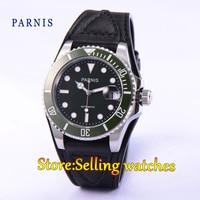 Parnis 40mm mostrador preto safira vidro verde cerâmica moldura mingzhu movimento automático relógio masculino watch men watch men watch watch watch -