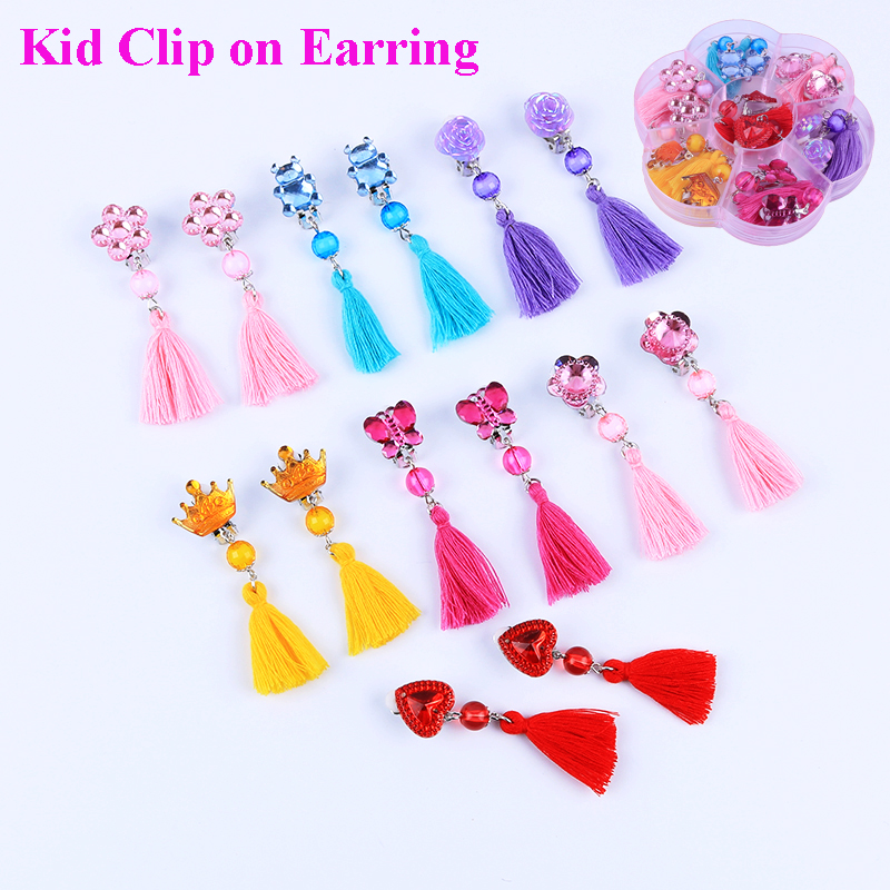New Style 7pairs/Set Cute Acrylic  Tassel Clip On Earrings For Children's Girls Kids Party Lovely No Hole Ear Clip Jewelry Gifts