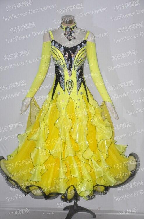 Top sales New Style!ballroom Standard Dance Dress Waltz Competition DressWomen flamenco dress Women/girl,yellow +Black