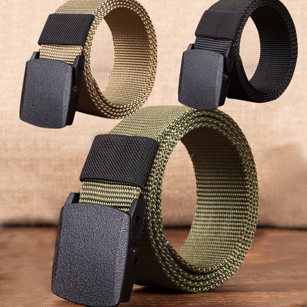 Men   Belt   Unisex Fashion Top Quality Outdoor Sports Nylon Automatic Buckle Waistband Canvas Web   Belt   Dazzling 30H