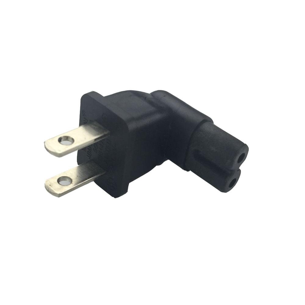 US 2 Prong Right Angle AC power Plug Adapter IEC figure 8 C7 ...