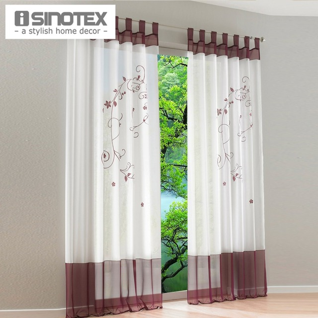 Pastoral Embroidered Sheer Window Curtain For Living Room General Pleat 145/175/225/245/260/270 CM 1PCS/lot