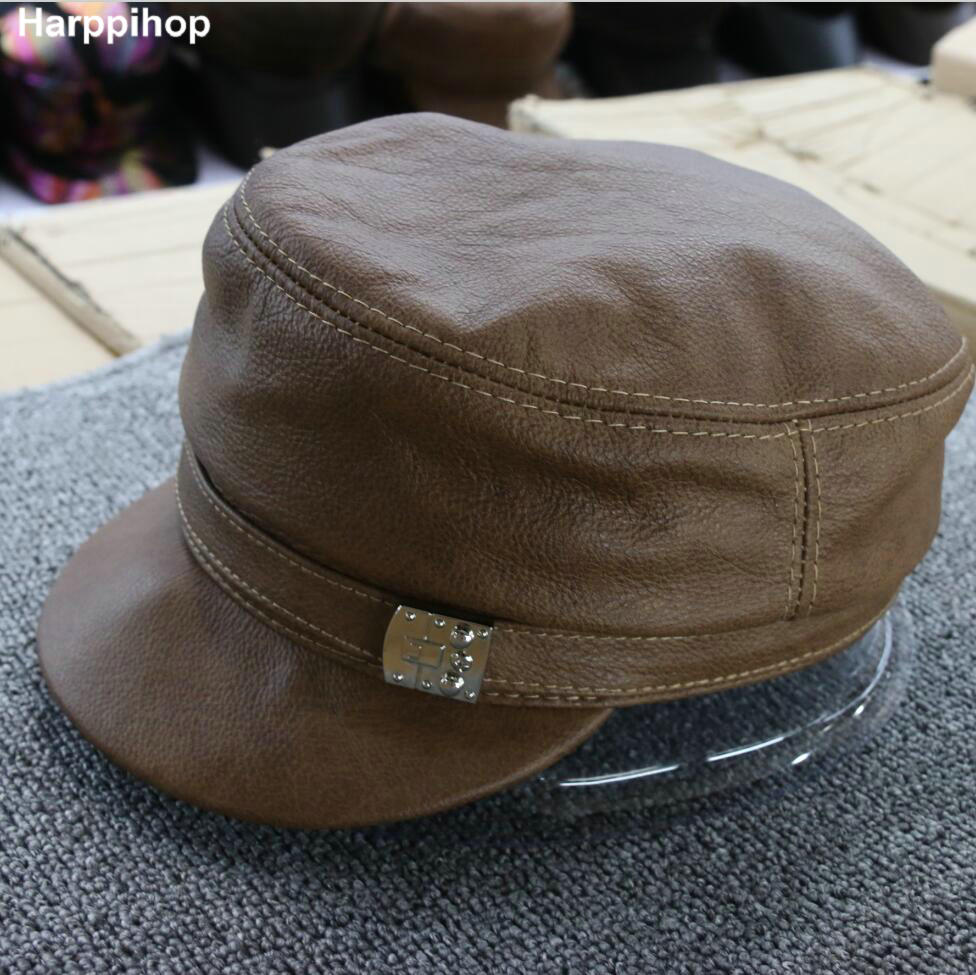Harppihop Brand New Genuine Leather Short Brim Flat Hats For Woman Real Cow Leather Black/Yellow/Red Brown Fitted Baseball Caps men s genuine leather baseball cap hat brand new spring real cow leather beret caps hats