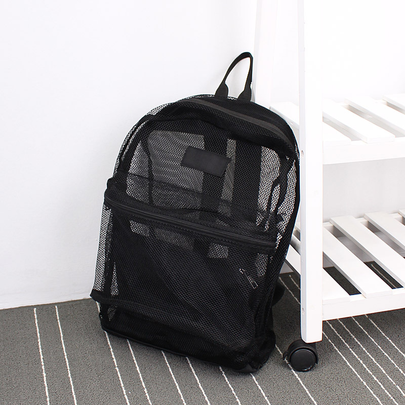 Fashion Women Transparent Backpack Mesh Backpack For Boys And Girls Light Weight Rucksack Travel Shoulder Bag mesh panel iridescence backpack